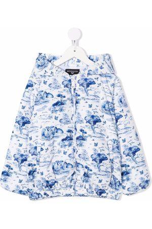 MONNALISA Girls Rainwear - Landscape print hooded jacket