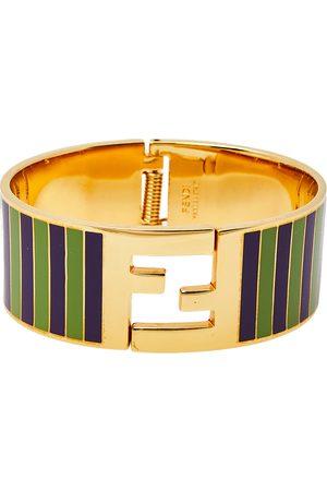 Fendi Women Bracelets - Sta Green/Purple Striped Enamel Tone Wide Bracelet S