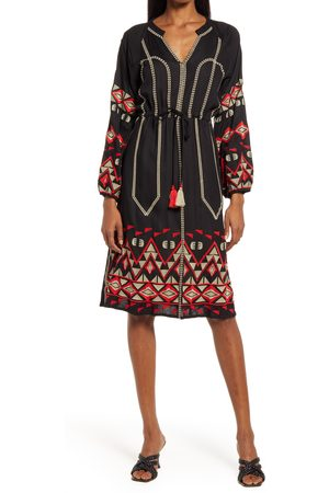 AREA Women's Bryant Embroidered Long Sleeve Dress