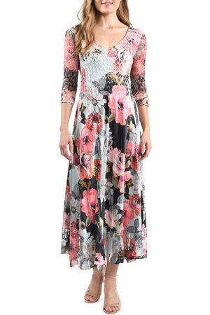 Komarov Women's Lace Sleeve Chiffon Midi Dress