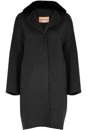 YVES SALOMON Women Coats - Anthracite fur-trimmed wool-blend coat