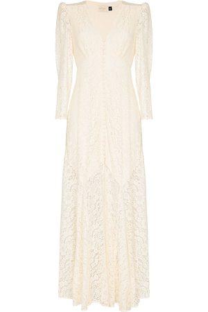 RIXO London Women Evening dresses - Fleur lace V-neck gown - Neutrals
