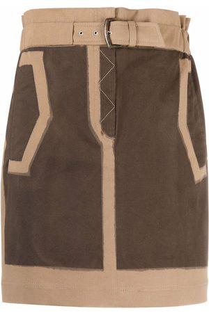 Alberta Ferretti Women Mini Skirts - Two-tone belted mini skirt - Neutrals