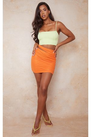 PRETTYLITTLETHING Women Party Dresses - Tie Side Cut Out Ruched Mini Skirt