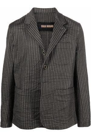 UMA WANG Men Blazers - Pinstripe print blazer - Grey
