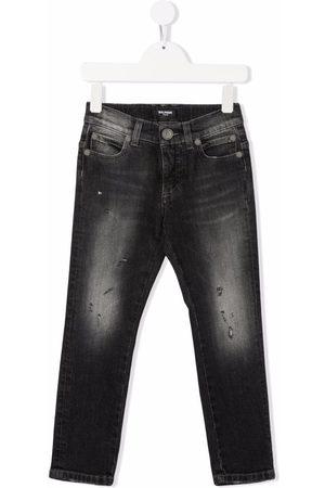 Balmain Washed straight leg jeans - Grey