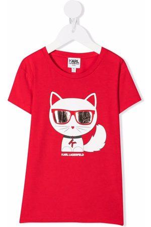 Karl Lagerfeld Girls Short Sleeve - Choupette-print short-sleeved T-shirt