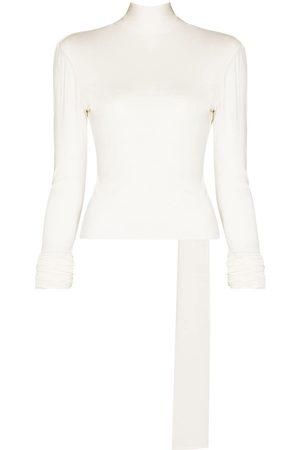 ALEKSANDRE AKHALKATSISHVILI Women Backless Tops - High-neck open-back top - Neutrals