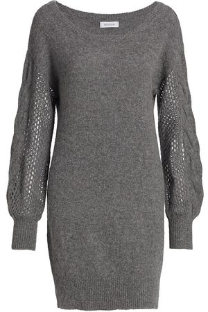 NAADAM Wool-Cashmere Open Cable Tunic Dress
