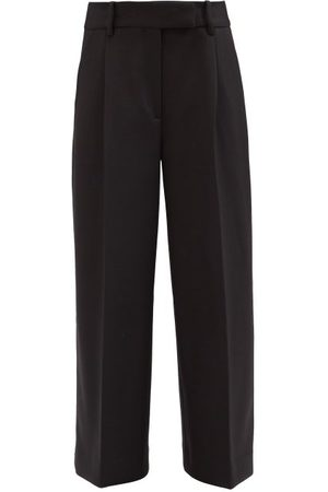 Khaite Maarte Wide-leg Pleated-twill Trousers - Womens