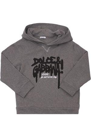 Dolce & Gabbana Boys Hoodies - Logo Print Cotton Sweatshirt Hoodie