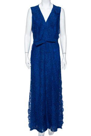 CH Carolina Herrera Lace Ruffled Belted Sleeveless Maxi Dress M