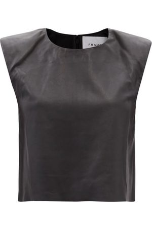 Frame Padded-shoulder Leather Top - Womens