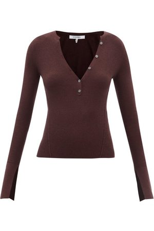 Frame Ribbed Wool-blend Henley Top - Womens