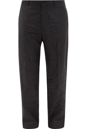 Balenciaga Men Formal Pants - Crinkled Twill Suit Trousers - Mens