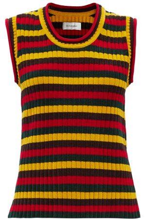 WALES BONNER Women Tank Tops - Brixton Striped Ribbed-knit Cotton Sleeveless Top - Womens - Stripe