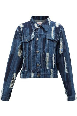 Charles Jeffrey Loverboy Distressed Striped Denim Jacket - Womens - Mid Denim