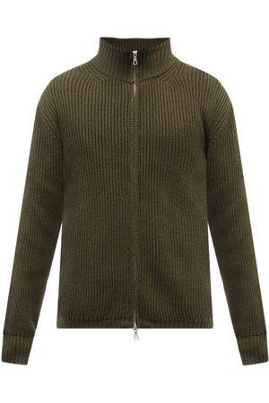 OFFICINE GENERALE High-neck Zipped Ribbed-wool Jacket - Mens - Khaki