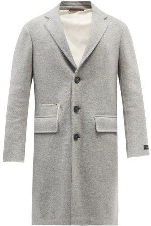 Ermenegildo Zegna Single-breasted Concealed-hood Cashmere-blend Coat - Mens - Light Grey