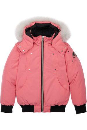 Moose Knuckles Girls Bomber Jackets - Nylon Down Bomber Jacket W/ Fur