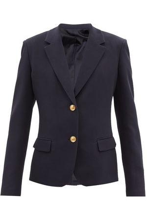VALENTINO Women Blazers - Single-breasted Silk-cady Jacket - Womens - Navy