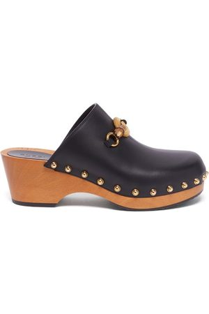 Gucci Women Clogs - Bamboo-buckle Leather Clogs - Womens