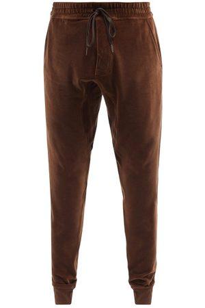 Tom Ford Men Sweatpants - Elasticated-waist Cotton-blend Velour Track Pants - Mens
