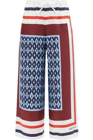Valentino Women Pants - Archival Scarf-print Silk-twill Cropped Trousers - Womens - Multi