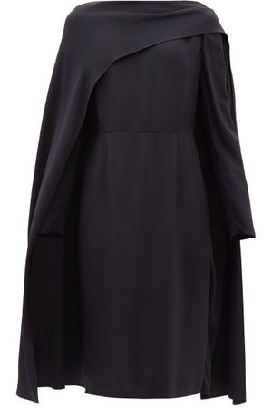 VALENTINO Women Dresses - Draped-overlay Crepe Dress - Womens - Navy