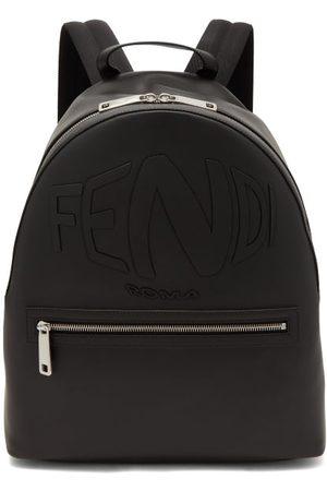 Fendi Men Rucksacks - Warped-logo Leather Backpack - Mens