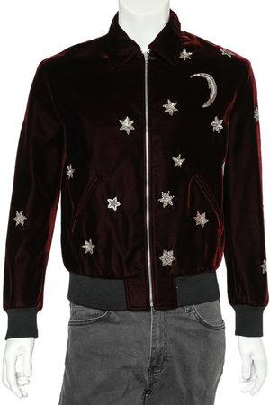 Saint Laurent Men Fleece Jackets - Burgundy Velvet Moon & Stars Embellished Teddy Jacket M