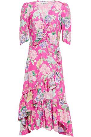 Sandro Woman Gathered Floral-print Jacquard Midi Dress Bright Size 38