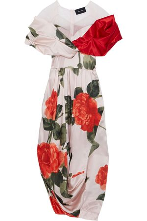 Simone Rocha Woman Tulle-paneled Draped Floral-print Silk-satin Midi Dress Baby Size 10