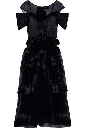 Simone Rocha Woman Paneled Ruffled Satin And Tulle Midi Dress Size 10