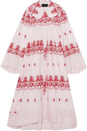 Simone Rocha Women Casual Dresses - Woman Embroidered Cotton-poplin Midi Shirt Dress Baby Size 10