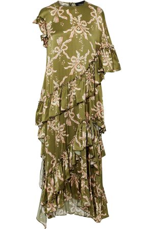 Simone Rocha Women Asymmetrical Dresses - Woman Asymmetric Ruffled Printed Silk-satin Maxi Dress Army Size 10