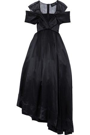 Simone Rocha Women Asymmetrical Dresses - Woman Cold-shoulder Asymmetric Tulle And Silk-satin Midi Dress Size 8