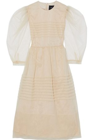 Simone Rocha Woman Pintucked Tulle Midi Dress Neutral Size 10