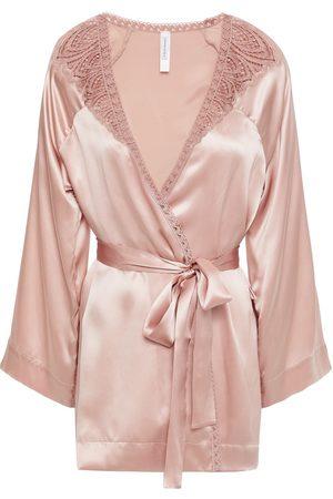 Simone Pérèle Simone Pérèle Woman Lace-trimmed Silk-blend Satin Robe Antique Rose Size 1