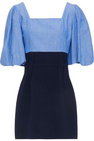 Sandro Women Party Dresses - Woman May Chambray-paneled Crepe Mini Dress Size 42