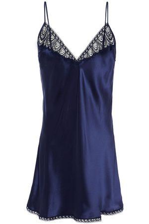 Simone Pérèle Women Nightdresses & Shirts - Simone Pérèle Woman Lace-trimmed Silk-blend Satin Chemise Navy Size 1