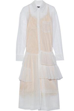 Simone Rocha Women Casual Dresses - Woman Tiered Ruffled Tulle Midi Shirt Dress Size 10