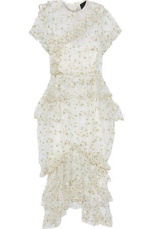Simone Rocha Women Midi Dresses - Woman Tiered Ruffled Embroidered Tulle Midi Dress Ivory Size 6