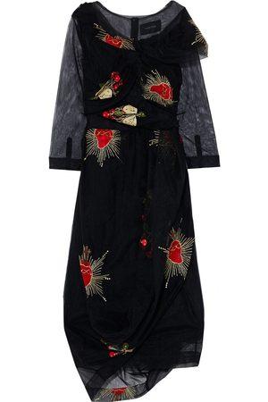 Simone Rocha Women Midi Dresses - Woman Draped Twisted Embroidered Tulle Midi Dress Size 12