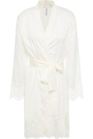 Simone Pérèle Women Bathrobes - Simone Pérèle Woman Eclipse Lace-trimmed Satin Robe Ivory Size L