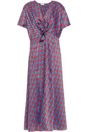 Sandro Women Printed Dresses - Woman Catny Knotted Printed Satin-twill Midi Dress Size 34