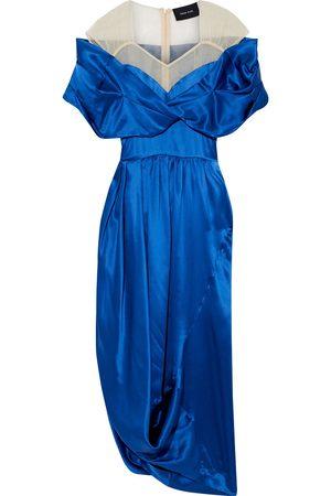 Simone Rocha Women Midi Dresses - Woman Tulle-paneled Draped Silk-satin Midi Dress Cobalt Size 10