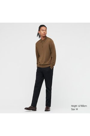 UNIQLO Men Polo Shirts - Men's Extra Fine Merino Knitted Long-Sleeve Polo Shirt, , XXS