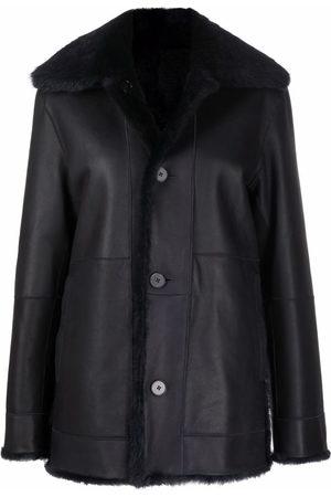 Jil Sander Women Leather Jackets - Shearling-lined leather jacket