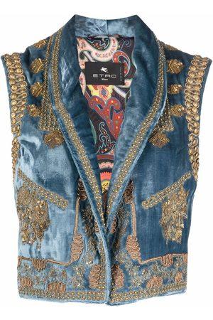 Etro Women Waistcoats - Embellished velvet waistcoat